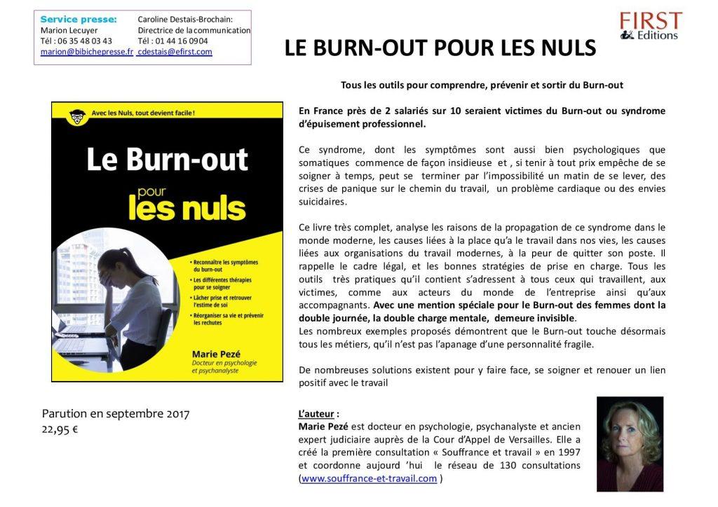 Le burn-out pour les nuls, de Marie Pezé