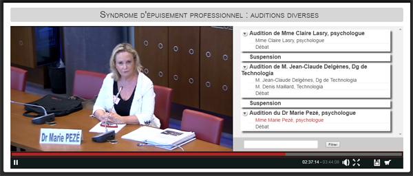 Burn-out, épuisement professionnel : vidéo Marie Pezé Assemblée nationale