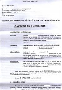 jurisprudence sur le suicide d'origine professionnelle, le jugement du TASS de La Roche-sur-Yon du 3 avril