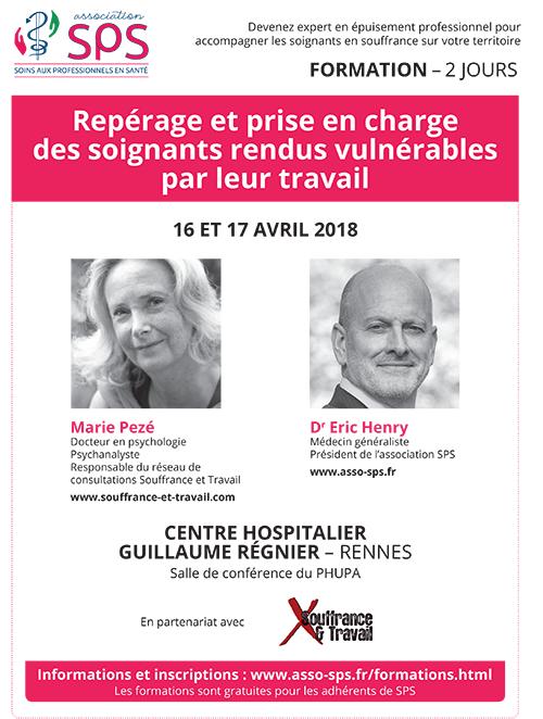Formation accompagner les soignants en souffrance Rennes 16-17 avril 2018