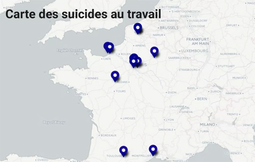 Carte des suicides au travail