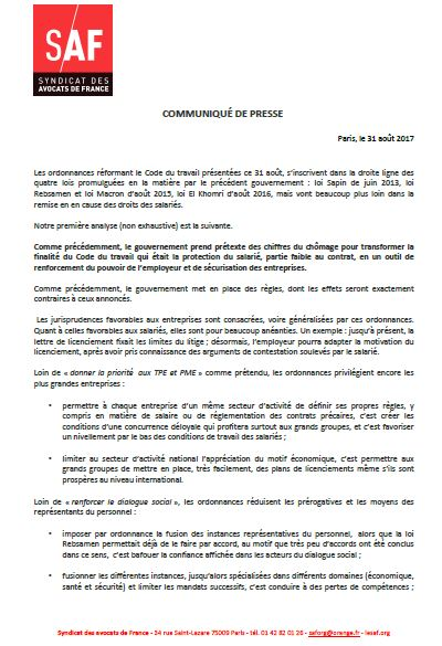 Syndicat des Avocats de France - Code du Travail