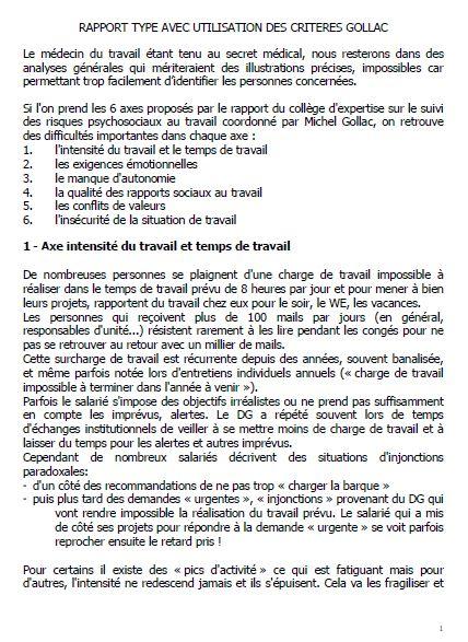 RAPPORT TYPE AVEC UTILISATION DES CRITERES GOLLAC