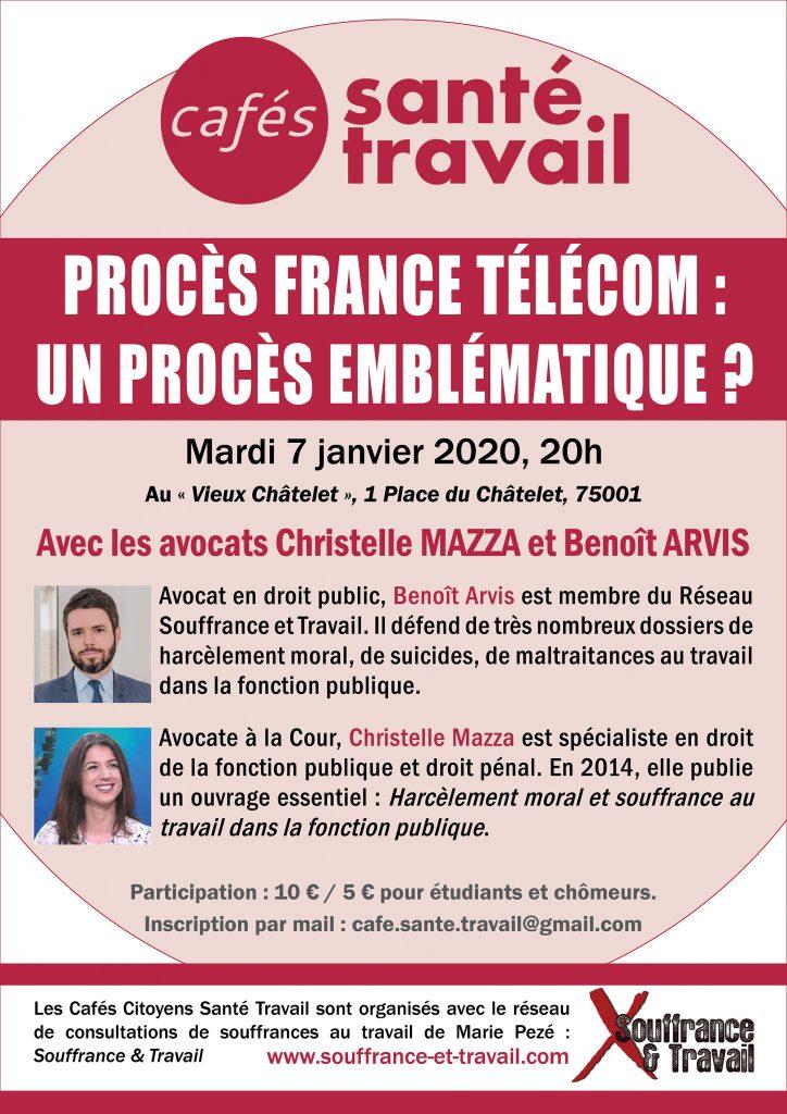 Procès France Télécom : Café Citoyen Santé Travail avec les avocats Christelle MAZZA et Benoit ARVIS