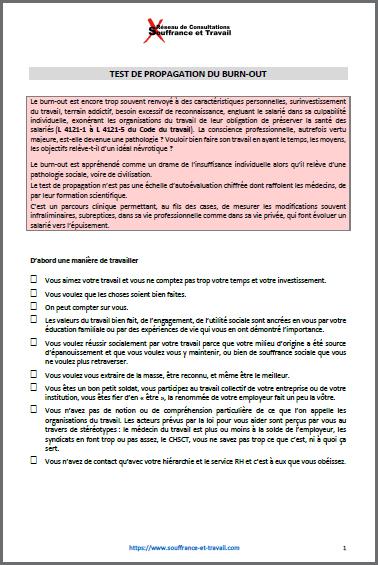 Test de propagation du burn-out - Réseau Souffrance & Travail